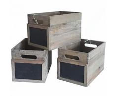 Lot de 3 Caisses Casiers à Bouteilles Cagettes à Légumes Cageots de Rangement en Bois avec Ardoise 20x20x30cm - Boite de rangement