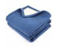 Linnea Couverture polaire luxe 240x260 cm 100% polyester 430 g/m2 NARVIK Bleu Pétrole/Naturel