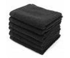 Linnea Lot de 6 serviettes invité 30x50 cm ALPHA noir