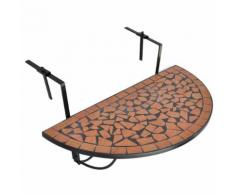 vidaXL Table suspendue de balcon Terre cuite Mosaïque