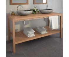 vidaXL Meuble-lavabo de salle de bains Teck massif 132x45x75cm