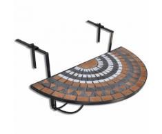 vidaXL Table suspendue de balcon Terre cuite et blanc Mosaïque