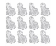 vidaXL Housses de chaise pour banquet de mariage 12 pcs Blanc
