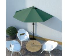 vidaXL Parasol de balcon avec mât en aluminium Vert 270x135 cm Demi