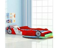 vidaXL Lit voiture de course pour enfants avec LED 90 x 200 cm Rouge