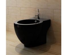 vidaXL Bidet rond à poser en céramique sanitaire noir