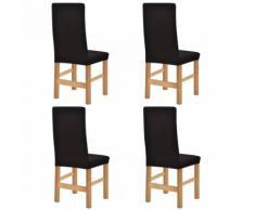 vidaXL Housse de chaise étirable 4 pcs Polyester tissu côtelé Marron