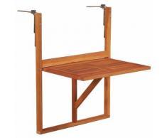 vidaXL Table suspendue de balcon 64,5x44x80 cm Bois d'acacia massif
