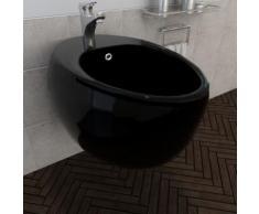 vidaXL Bidet suspendu en céramique sanitaire noir