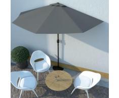 vidaXL Parasol de balcon et mât en aluminium Anthracite 300x150cm Demi