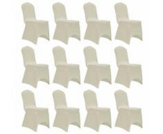 vidaXL Housses élastiques de chaise Crème 12 pcs