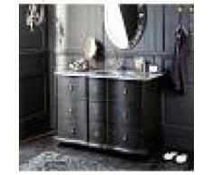 Maisons du Monde Meuble vasque en manguier noir et pierre Eugenie