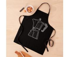 Mon dessin en coupe de l'emblématique cafetière italienne en gris clair Tablier