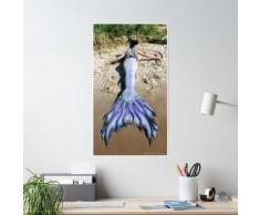 Photos de sirène: une sirène sur la plage Poster