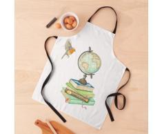 Livres d'aquarelle, globe terrestre et un Robin volant Tablier