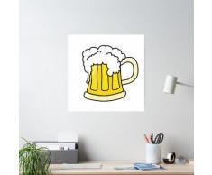 Dessin animé drôle de bière en verre Poster