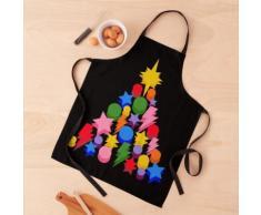 Sapin de Noël multicolore, étoile et boules Tablier