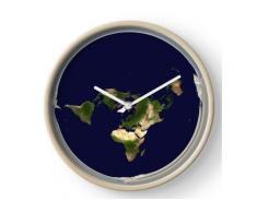 Conspiration et forme du globe terrestre plat Horloge murale