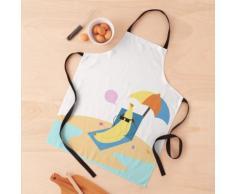 Sunbathing Banana porte des lunettes de soleil à la plage avec parasol Tablier