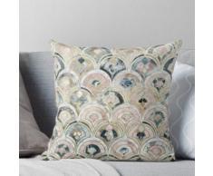 Carreaux de marbre Art Déco dans des pastels tendres Coussin