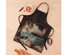 Côté cheminée - maman chat et ses chatons Tablier