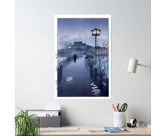 Pluie du soir, étang Shinobazu 1938 Kasamatsu Shiro Art japonais Poster