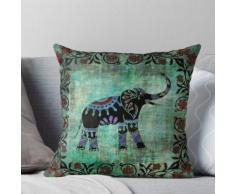 Art floral asiatique décoratif éléphant indien Coussin