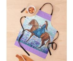 Peinture à l'aquarelle de selle de cheval ibérique de dressage Tablier