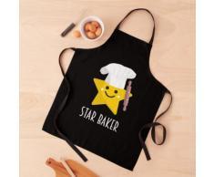 Cute Star Baker avec rouleau à pâtisserie - Noir Tablier