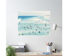 Côtier, Art plage, Eau bleue, Mer, Océan Poster
