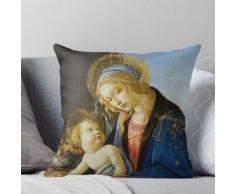 """Sandro Botticelli """"La Vierge à l'Enfant (La Madone du Livre)"""". Coussin"""