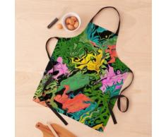 Feuilles et fleurs de palmier abstrait acrylique coloré Tablier