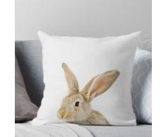 Impression de lapin de bébé, chambre d'enfant, animal, lapin, décor de mur moderne, Woodl Coussin