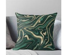 Vert émeraude Noir Or Marbre # 1 #decor #art Coussin