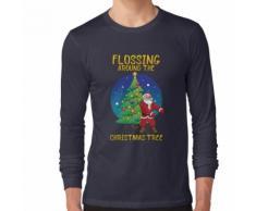 La soie dentaire autour du sapin de Noël T-shirt Santa Floss Tee T-shirt manches longues