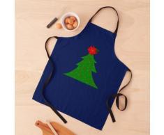Sapin de Noël scintillant bleu marine avec étoile poinsettia Tablier