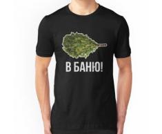 Sauna russe traditionnel drôle avec l'écriture de langue russe. Cadeau pour orateur T-shirt ajusté