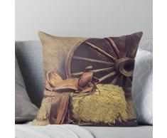 peinture western country wagon roue cuir cheval selle Coussin