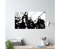 Black Sails Captains pirates Billy, argent, silex et girouette debout sur le bateau pirate Poster