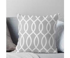 Treillis, moderne, tendance, motif, gris, blanc, élégant, chic, décoratif Coussin