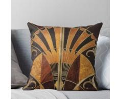 Art nouveau, art déco, vintage, élégant, chic, motif, or, bois, noir, bronze, argent, bei Coussin