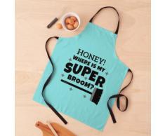Super balai, nettoyage drôle, nettoyage de maison, concierge, conception Tablier