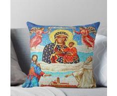 Vierge Noire | Vierge noire et enfant | Notre-Dame de Częstochowa Coussin