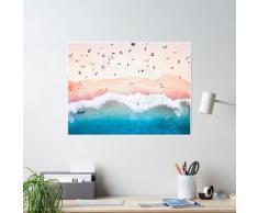 Vue aérienne de la plage de sable Poster