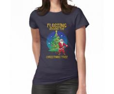 La soie dentaire autour du sapin de Noël T-shirt Santa Floss Tee T-shirt femme
