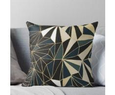 Nouvelle géométrie Art déco - Vert émeraude et or Coussin