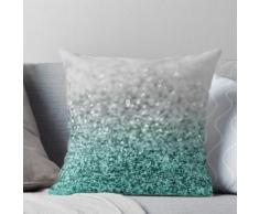 Silver Teal Ocean Glitter Glam # 1 #shiny #decor #art Coussin