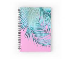 Feuilles de palmier Pink Blue Vibes # 1 #tropical #decor #art Cahier à spirale