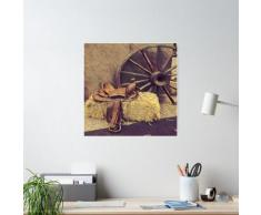 peinture western country wagon roue cuir cheval selle Poster