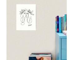 Picasso Line Art de femme portant une couronne de fleurs Impression art